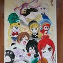 Anime-mix, Művészet, Grafika & Illusztráció, Fotó, grafika, rajz, illusztráció, Anime rajongásom eredménye ez az über cuki akvarell., Meska