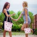 Anya - lánya táska szett, Táska, Válltáska, oldaltáska, Varrás, Legyen egyforma táskátok a kislányoddal!  Egyedileg készítettem és a rózsaszín alapon, bőr virágokk..., Meska