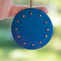 Domborított kobalt kéktűzzománc nyaklánc, Ékszer, Medál, Nyaklánc, Nagy kobalt kék tűzzománc nyaklánc.12 domborított ponttal.   Mérete: 5,5 cm kör Hosszú lánc..., Meska