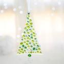Zöld rogyasztott üveg karácsonyfa szett >5 db/csomag<