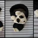 Panda-sál, Baba-mama-gyerek, Ruha, divat, cipő, Kendő, sál, sapka, kesztyű, Sál,  Fekete-fehér szín összeállítású fonalakból kötöttem, puha, meleg és egyedi viselet.  Hossza : 67 cm..., Meska