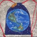 Föld bolygós gymbag, hátizsák, tornazsák, Táska, Hátizsák, Varrás, Speciális tartós vastag vászonból közbéléssel és pamut béléssel készült tornazsák: -Mérete: 29x39cm..., Meska