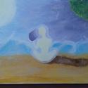 """álarc, Otthon, lakberendezés, Falikép, Festészet, """" ... amint leveszed az ÁLarcot, elül a vihar és kiderül az ég...."""" 20x40 cm-es feszített vászonkép..., Meska"""
