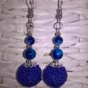 Kék Achát ásvány füllbevaló, Ékszer, óra, Fülbevaló, Kék Achát fülbevaló 6mm-es és 8mm ásvány gyönggyel.6,5 cm hosszú, nikkelmentes fülbevaló ..., Meska