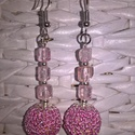 Hegyikristály ásvány füllbevaló, Ékszer, Fülbevaló, Roppantott rózsaszín hegyi kristály fülbevaló 3-3 szemcse ásvány splitterel.Kb 6-7cm hosszú,..., Meska