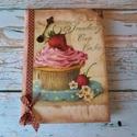 muffin Receptes füzet , Naptár, képeslap, album, Jegyzetfüzet, napló, Akár egy ódon receptes füzetke.. szépséges mintával dekorálva,felülete oldala pasztázva,öregbítve.. ..., Meska