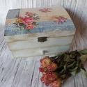 Romantikus rózsás vintage ékszeres ládikó, Otthon, lakberendezés, Tárolóeszköz, Doboz, Fa doboz,mely felül rekeszes,alul fiókos. Felülete nedves ronggyal törölhető mérete:18x13x10cm ..., Meska