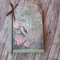 madárkás  napló,emlékkönyv, Naptár, képeslap, album, Jegyzetfüzet, napló, Vaskosabb A6-os méretű fehér lapból álló kemény fedeles napló,szépséges mintával dekorálva. ..., Meska