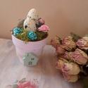 Tavaszi,húsvéti asztali dekoráció , Dekoráció, Ünnepi dekoráció, Húsvéti apróságok, Asztaldísz, Kis cserépbe csempészett tavasz :) Apró dekorokkal, készített asztaldísz. 3 cserépből lehet választa..., Meska
