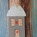 country  faház,házikó,lak , Dekoráció, Otthon, lakberendezés, Kerti dísz, Édes kis festett faház. mérete:19,5x11.5cm, Meska