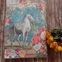 Unicornis vászonkép , Dekoráció, Kép, Vidám,színes vászonkép,nemcsak kislányoknak. Mérete:A4-es. Száraz ronggyal törölhető., Meska