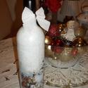 Krácsonyi borosüveg, Otthon, lakberendezés, Konyhafelszerelés, Mindenmás, Decoupage, transzfer és szalvétatechnika, Borosüveg festve dekoupage technikával díszítve. Ajándékba házi pálinkával  vagy borral töltve férf..., Meska