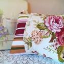 Párna rózsákkal és csíkokkal, Otthon, lakberendezés, Lakástextil, Párna, Varrás,  A párnák mérete 35x40 cm, amihez én töltetnek egy min. 40x40 cm-es belsőt javaslok. A rózsás vászo..., Meska