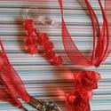 Ribizli szett, Ékszer, Ékszerszett, AKCIÓ!!Piros gyöngyökből organza szállal ezüst színű szerelékekkel készítettem a szettet...., Meska