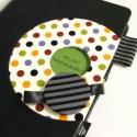 Fekete-színes pöttyös napló, Naptár, képeslap, album, Jegyzetfüzet, napló, 14x20 cm-es, XL-es méretű napló, kockás lapokkal. , Meska
