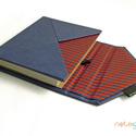 M-es notesz/határidőnapló BORÍTÓ-kék-piros csíkos boríték, Naptár, képeslap, album, Jegyzetfüzet, napló, Naptár, Könyvkötés, Boríték (ENVELOPE) notesz *** CSAK BORÍTÓ!, 200 oldalas REGULAR belívhez!  *** mérete: 10x14 cm, **..., Meska