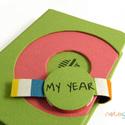 M-es notesz/határidőnapló BORÍTÓ -zöld-rózsaszín-színes csíkos, Naptár, képeslap, album, Jegyzetfüzet, napló, Naptár, Könyvkötés, Korongos (CLICK-IN + ) notesz *** CSAK BORÍTÓ!, 200 oldalas REGULAR belívhez!  *** mérete: 10x14 cm..., Meska