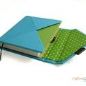 M-es notesz/határidőnapló BORÍTÓ-kék-zöld-pöttyös boríték, Naptár, képeslap, album, Jegyzetfüzet, napló, Naptár, Könyvkötés, Boríték (ENVELOPE) notesz *** CSAK BORÍTÓ!, 200 oldalas REGULAR belívhez!  *** mérete: 10x14 cm, **..., Meska