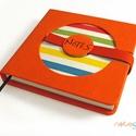 L-es notesz/határidőnapló BORÍTÓ - piros - színes csíkos, Naptár, képeslap, album, Jegyzetfüzet, napló, Naptár, Könyvkötés, Korongos (CLICK-IN + ) notesz *** CSAK BORÍTÓ!, 200 oldalas REGULAR belívhez!  *** mérete: 14x14 cm..., Meska