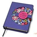 M-es notesz/határidőnapló BORÍTÓ - kék-virágmintás, Naptár, képeslap, album, Jegyzetfüzet, napló, Naptár, Könyvkötés, Korongos (CLICK-IN + ) notesz *** CSAK BORÍTÓ!, 200 oldalas REGULAR belívhez!  *** mérete: 10x14 cm..., Meska