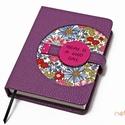M-es notesz/határidőnapló BORÍTÓ - lila-virágmintás, Naptár, képeslap, album, Jegyzetfüzet, napló, Naptár, Könyvkötés, Korongos (CLICK-IN + ) notesz *** CSAK BORÍTÓ!, 200 oldalas REGULAR belívhez!  *** mérete: 10x14 cm..., Meska