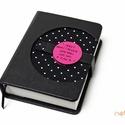 M-es, késztermék! notesz/határidőnapló BORÍTÓ-fekete-pöttyös, Naptár, képeslap, album, Jegyzetfüzet, napló, Naptár, Könyvkötés, *** KÉSZTERMÉK! Azonnal átvehető/postázható!  Korongos (CLICK-IN + ) notesz *** CSAK BORÍTÓ!, 450 o..., Meska