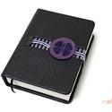 M-es, késztermék! notesz/határidőnapló BORÍTÓ-fekete-szürke csíkos-lila, Naptár, képeslap, album, Jegyzetfüzet, napló, Naptár, Könyvkötés, *** KÉSZTERMÉK! Azonnal átvehető/postázható!  Korongos (CLICK-IN + ) notesz *** CSAK BORÍTÓ!, 450 o..., Meska
