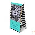 Fényképtartó - fekete-fehér csíkos és türkiz, Naptár, képeslap, album, Fotóalbum, Textil borítású fényképtartó -mérete: 12 cm x 22 cm -2 db 10x15 cm-es fotót helyezhetsz el..., Meska