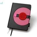 M-es notesz/határidőnapló BORÍTÓ - fekete-rózsaszín, Naptár, képeslap, album, Jegyzetfüzet, napló, Naptár, Könyvkötés, Korongos (click-in +) BORÍTÓ cserélhető belsejű noteszhez  - borító mérete: 10x14 cm, belív mérete:..., Meska