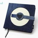L-es notesz/határidőnapló BORÍTÓ - farmer-fehér, Naptár, képeslap, album, Jegyzetfüzet, napló, Naptár, Könyvkötés, L-es korongos (click-in +) BORÍTÓ cserélhető belsejű noteszhez  - borító mérete: 14x14 cm, belív mé..., Meska