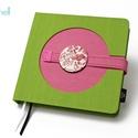 L-es notesz/határidőnapló BORÍTÓ - zöld-rózsaszín, Naptár, képeslap, album, Jegyzetfüzet, napló, Naptár, Könyvkötés, L-es korongos (click-in +) BORÍTÓ cserélhető belsejű noteszhez  - borító mérete: 14x14 cm, belív mé..., Meska