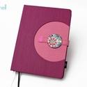XL-es notesz/határidőnapló BORÍTÓ - lila-rózsaszín, Naptár, képeslap, album, Jegyzetfüzet, napló, Naptár, Könyvkötés, Korongos (click-in +) BORÍTÓ cserélhető belsejű noteszhez  - borító mérete: 14x20 cm, belív mérete:..., Meska