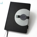 XL-es notesz/határidőnapló BORÍTÓ - fekete-ezüst, Naptár, képeslap, album, Jegyzetfüzet, napló, Naptár, Könyvkötés, Korongos (click-in +) BORÍTÓ cserélhető belsejű noteszhez  - borító mérete: 14x20 cm, belív mérete:..., Meska