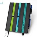 XL-es notesz/határidőnapló BORÍTÓ-fekete-csíkos-zöld-türkiz, Naptár, képeslap, album, Naptár, Jegyzetfüzet, napló, Könyvkötés,  BORÍTÓ cserélhető belsejű Noteshell noteszhez  - borító mérete: 14x20 cm, belív mérete: 14*19 cm -..., Meska