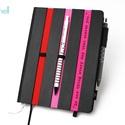 XL-es notesz/határidőnapló BORÍTÓ-fekete-csíkos-piros-pink, Naptár, képeslap, album, Naptár, Jegyzetfüzet, napló, Könyvkötés,  BORÍTÓ cserélhető belsejű Noteshell noteszhez  - borító mérete: 14x20 cm, belív mérete: 14*19 cm -..., Meska