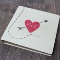 Esküvői fotóalbum - natúrfehér - egyedi mintával, Naptár, képeslap, album, Fotóalbum, Textil borítású ESKÜVŐI fotóalbum egyedi mintával és felirattal (DUO kollekció) -méret: 2..., Meska