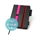 M 'thick' határidőnapló/notesz - fekete-csíkos-pink-piros, Naptár, képeslap, album, Jegyzetfüzet, napló, Naptár, M-es csíkos (stripy) CSERÉLHETŐ BELSEJŰ notesz / határidőnapló  - fekete műbőr+színes textil borítás..., Meska