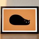 Fekete macska - A4-es grafika, Dekoráció, Otthon, lakberendezés, Kép, Falikép, Fotó, grafika, rajz, illusztráció, Köszöntelek a Noteszboltban!  A fekete macska figyel téged! Ez a minimál grafika használható fali d..., Meska