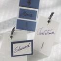 Levendulával díszített ültetőkártya, Esküvő, Esküvői dekoráció, Meghívó, ültetőkártya, köszönőajándék, Papírművészet, Igény szerinti méretezéssel készítem ezeket az ültetőkártyákat, melyek egy-egy szál levendulával dí..., Meska