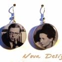 """Sartre és Beauvoir -\""""Híres párok\"""" sorozat, Ékszer, Fülbevaló, Híres párok a művészet minden tájáról, legyen az film, zene, vagy irodalom. Jelen esetben a francia..., Meska"""