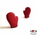 Piros kesztyű fülbevaló, Piciny kesztyűk a hideg téli napokra -a fülekbe...