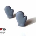 Kék kesztyű fülbevaló, Piciny kesztyűk a hideg téli napokra -a fülekbe...