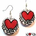 Keith Haring szíves fülbevaló -Művészet sorozat, Ékszer, Fülbevaló, Képek, festmények, grafikák -fülbevaló formájában, hogy megmutathasd, ki a kedvenced és magaddal vih..., Meska