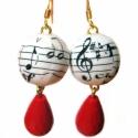 Fülbevaló  Zene-bona muzsika, Ékszer, óra, Fülbevaló, Régi kotta felhasználásával készült fülbevaló zenészeknek, zeneszeretőknek, és mindenkinek, aki szer..., Meska