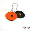 Yin és Yang fülbevaló #1 Narancs-fekete egypettyes, Yin & Yang aszimmetrikus bőrhatású fülbevalók...