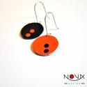 Yin és Yang fülbevaló #2 Narancs-fekete kétpettyes, Ékszer, Fülbevaló, Yin & Yang aszimmetrikus bőrhatású fülbevalók  *** #2 Fekete-narancs kétpettyes *** Különleges kopro..., Meska