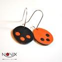 Yin és Yang fülbevaló #3 Narancs-fekete hárompettyes, Ékszer, Fülbevaló, Yin & Yang aszimmetrikus bőrhatású fülbevalók  *** #3 Fekete-narancs hárompettyes *** Különleges kop..., Meska