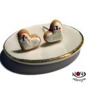 Mézeskalács szív fülbevaló, Ékszer, Fülbevaló, Apró mézeskalács fülbevaló cukorkákkal megszórva az ünnepek jegyében.  *Mérete: kb. 1 cm  ***A fülbe..., Meska