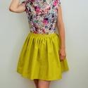 Rövid Sárga organikus pörgős szoknya, Ruha, divat, cipő, Női ruha, Szoknya, Varrás, Rövid szoknya sárga organikus /bio pamut textilből. Hátul egy rejtett cipzárral és egy vékony övvel..., Meska