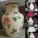 Rózsás romantikus-egyedi kerámia lámpaváza, Otthon, lakberendezés, Dekoráció, Lámpa, Ünnepi dekoráció, Karácsonyi, adventi apróságok, Fehér agyagból készítettem ezt a lámpavázát.Rózsás mintámmal festettem körbe.  Kinek ajá..., Meska